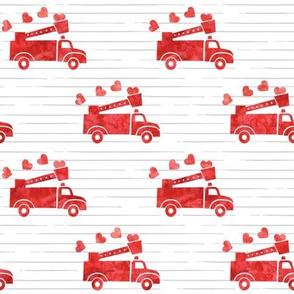 valentine's fire trucks - grey stripes - hearts - valentines day - LAD19