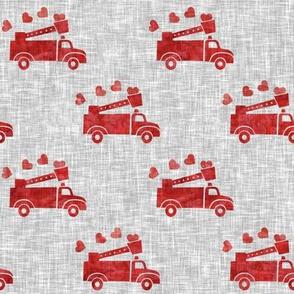 valentine's fire trucks - grey - hearts - valentines day - LAD19