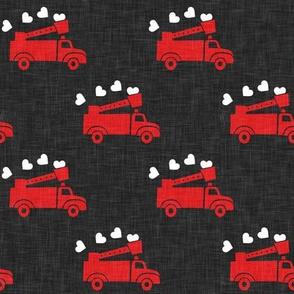 valentine's fire trucks - dark grey - hearts - valentines day - LAD19