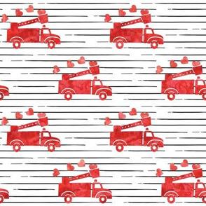 valentine's fire trucks - black stripes - hearts - valentines day - LAD19