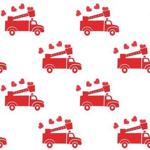 valentine's fire trucks - white - hearts - valentines day - LAD19