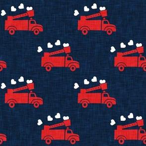 valentine's fire trucks - dark blue - hearts - valentines day - LAD19
