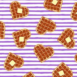 heart shaped waffles - purple stripes - valentines food - LAD19