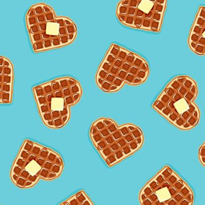 heart shaped waffles - blue 2 - valentines food - LAD19