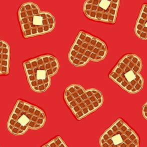 heart shaped waffles - red - valentines food - LAD19