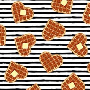heart shaped waffles - black stripes - valentines food - LAD19