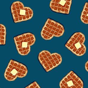 heart shaped waffles - blue - valentines food - LAD19