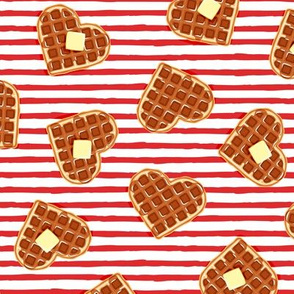heart shaped waffles - red stripes - valentines food - LAD19