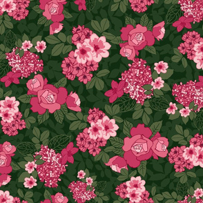 Chintz in pink and green