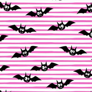 "(2.5"" width) bats - cute halloween - pink stripes - LAD19BS"