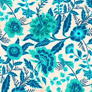Vintage Botanical Chintz Filigree- Cyan Traditional Florals Palampore- Large Scale