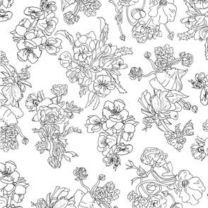 Floral Ink Fabric Design