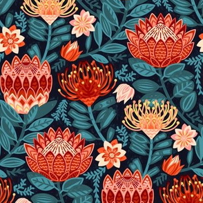 Protea Chintz - Navy (Small Version)