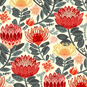 Protea Chintz - Grey & Red (Small Version)