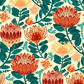 Protea Chintz - Orange & Navy (Small Version)
