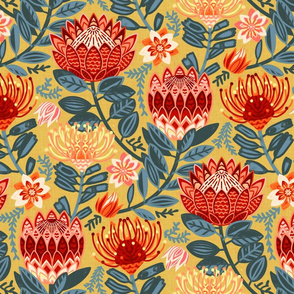 Protea Chintz - Mustard- (Large Version)