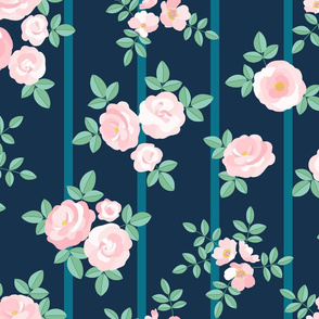 Chintz roses stripe soft pink navy