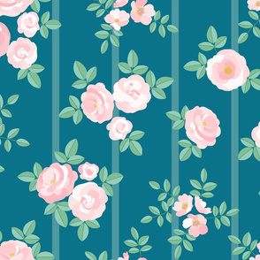 Chintz roses stripe soft pink teal
