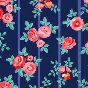 Chintz roses stripe red navy