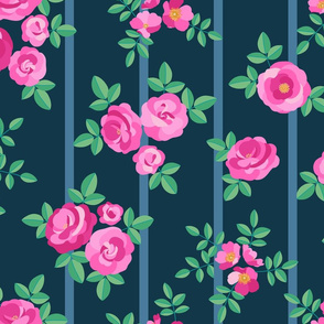 Chintz roses stripe pink navy