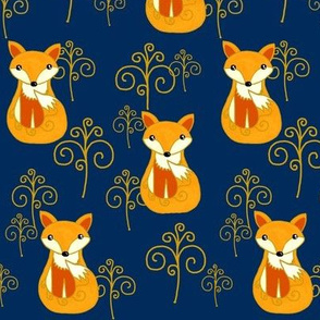 The Fox & the Whimsical Woods / Navy Blue-Gold