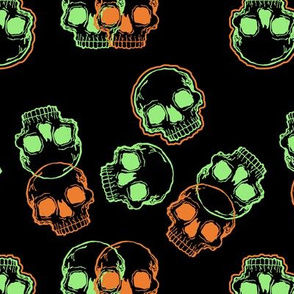 Orange and Green Skulls on Black