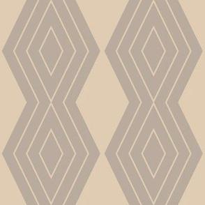 JP9 - Medium - Harlequin Pinstripe Diamond Chains in Taupe on Pearl Grey
