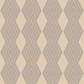 JP9 - Small - Harlequin Pinstripe Diamond Chains in Taupe on Pearl Grey