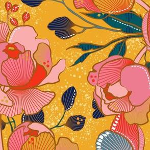 Magical peony Chintz / yellow background / L
