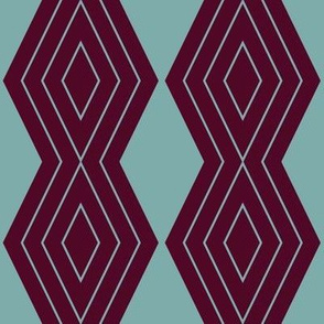 JP8 - Medium - Harlequin Pinstripe Diamond Chains in Pastel Teal on Burgundy Maroon