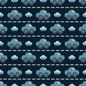 Blue cars on the road pattern