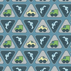 Little blue cars and trucks pattern