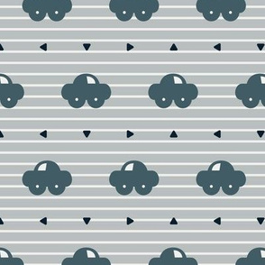 Little blue cars on the road pattern