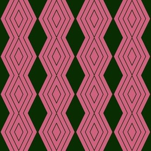 JP7 - Small - Harlequin Pinstripe Diamond Chains in Pine Green on Pink Coral