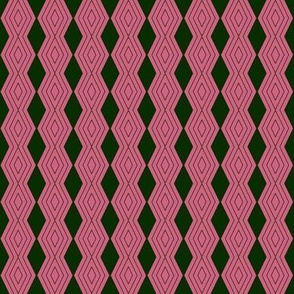JP7 - Tiny - Harlequin Pinstripe Diamond Chains in Pine Green on Pink Coral