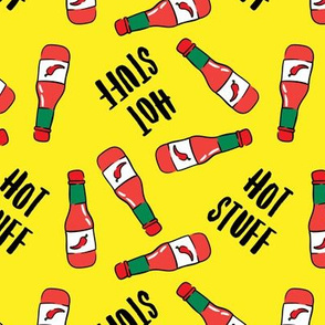 Hot stuff - hot sauce bottle - yellow - LAD19