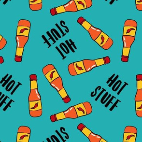 Hot stuff - hot sauce bottle - teal - LAD19