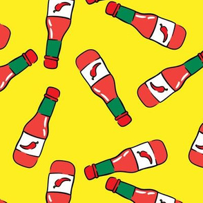 hot sauce bottle - toss on yellow - LAD19