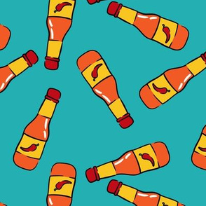 hot sauce bottle - toss on teal - LAD19