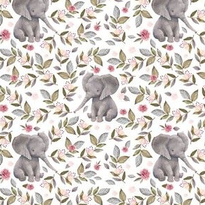 """4"""" Baby Elephant with Flowers/ NO CROWN  / Mix & Match"""
