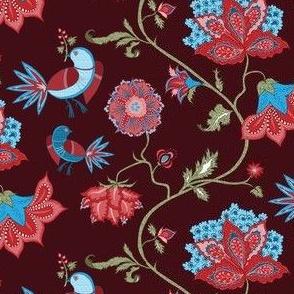 bird chintz dark red