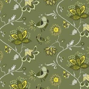 bird chintz olive-green