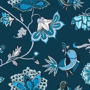bird chintz blue-navy