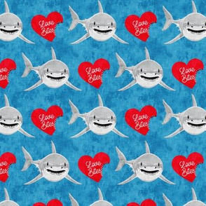 Love Bites - Shark Valentines - Blue and Red - LAD19