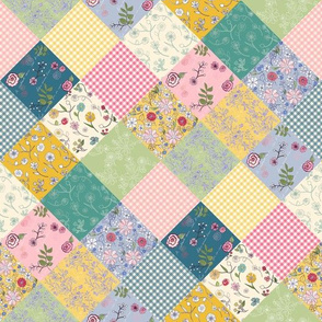 Spring Cottage Patchwork Diamonds Quilt