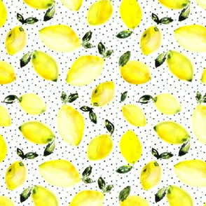 So lemony summer • watercolor citruses with lots of dots