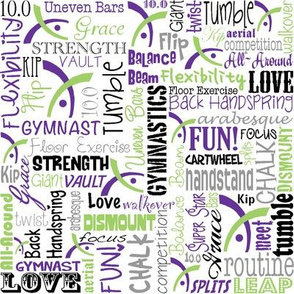 Gymnastics Words Fabric Purple Lime