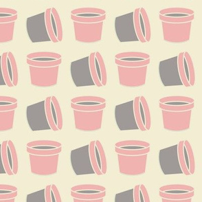Pink and grey flower pots pattern