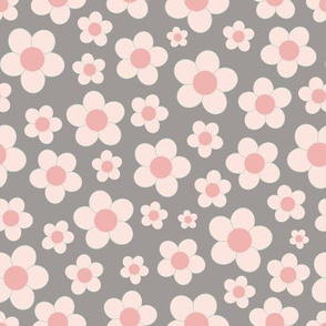 Grey and pink floral pattern