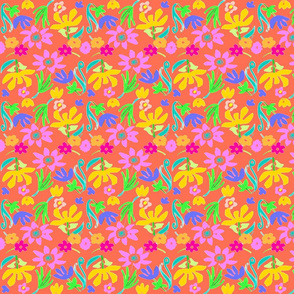 BRIGHT FLOWERS AND ORANGE -